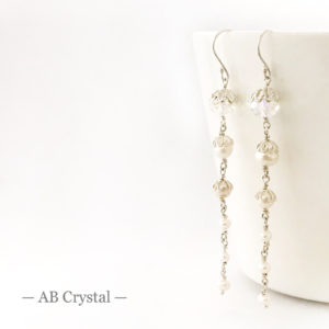 Crystal Bridal Earrings with pearls | Me Me Jewellery