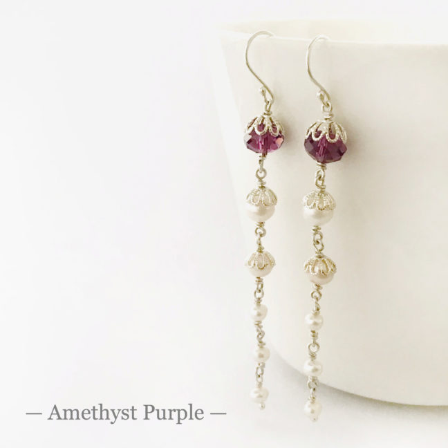Amethyst Crystal Earrings | Me Me Jewellery