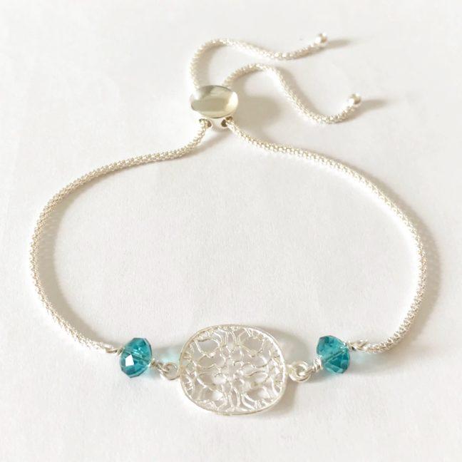 Teal Crystal Mandala Bracelet | Me Me Jewellery