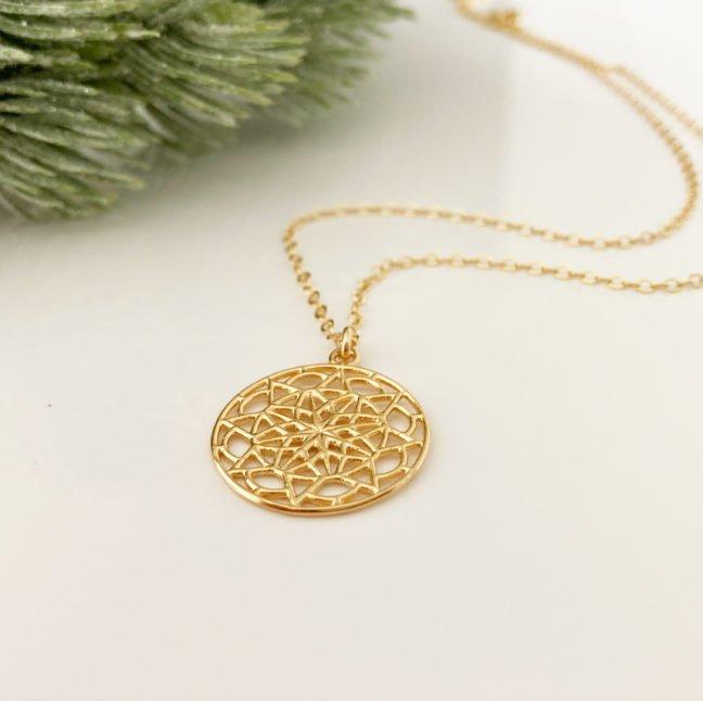 Intricate Gold Mandala Necklace   Me Me Jewellery