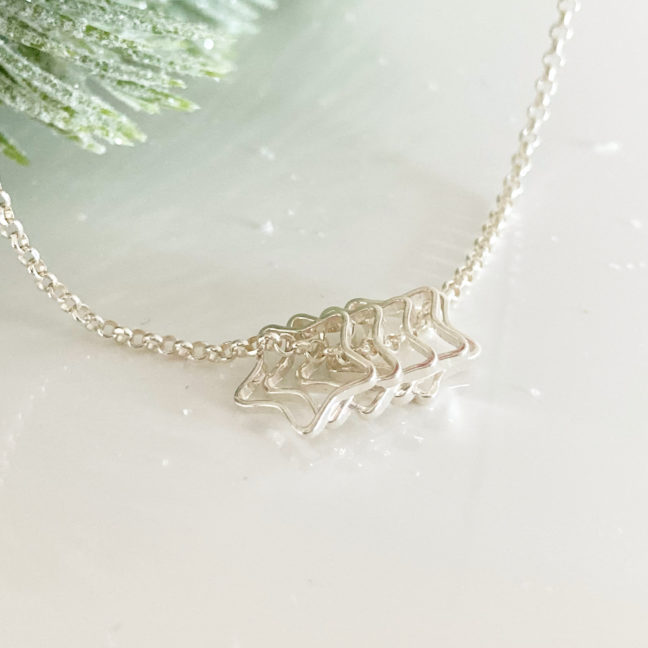 Silver Five Star Necklace | Me Me Jewellery