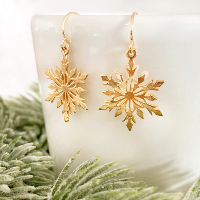 Gold Snowflake Earrings | Me Me Jewellery