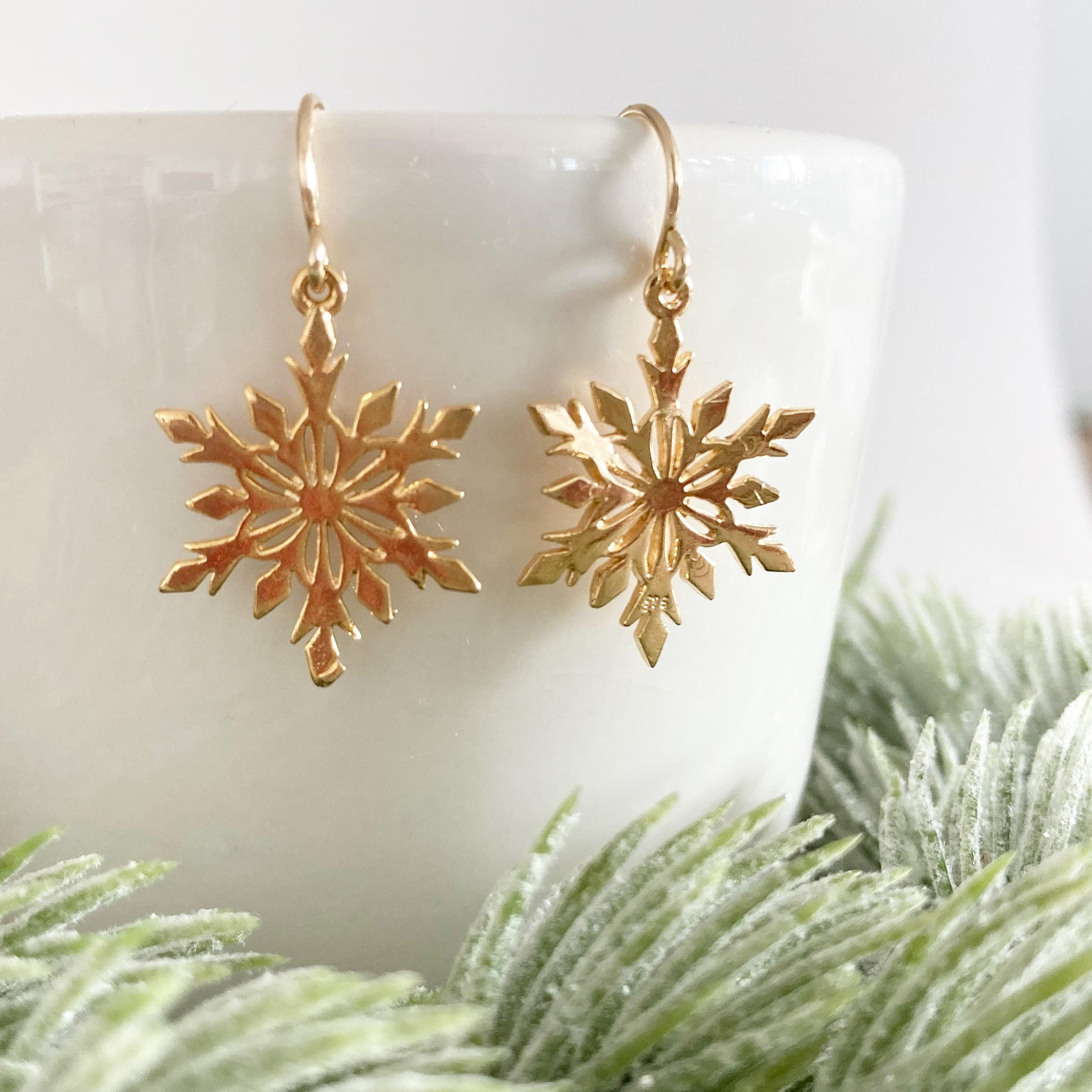 Festive Gold Snowflake Earrings | Me Me Jewellery