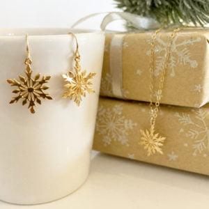 Gold Snowflake Jewellery Set | Me Me Jewellery