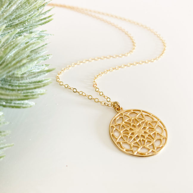 Gold Mandala Necklace   Me Me Jewellery